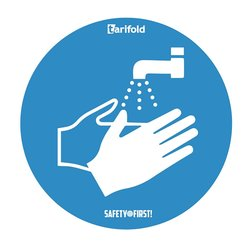 Deursticker 'Handen wassen verplicht' Gelamineerd vinyl Ø 250 mm