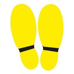 Vloersticker voeten 2 x geel / zwart (set van 2 stickers)