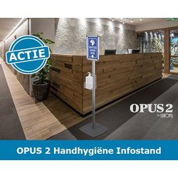 Vrijstaande handhygiene infostand voorzien van gel / zeepdispenserhouder OPUS 2