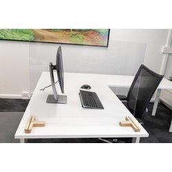 Scheidingsschermen 58x160cm plexiglas voor bureau/tafel, inclusief 2x houten voetstuk 3-weg