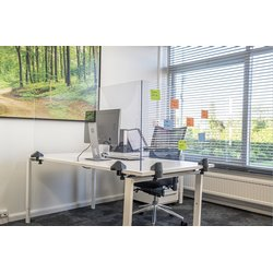 Scheidingsscherm 58x160cm plexiglas voor bureau/tafel,incl. 2x bureauklem enkel bureau