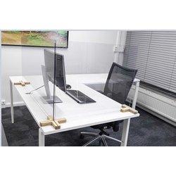 Scheidingsschermen 58x120cm plexiglas voor bureau/tafel, inclusief 2x houten voetstuk 3-weg