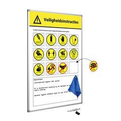 Veiligheidsbord Corona met wisselbare iconen Nederlandstalig 60x90cm