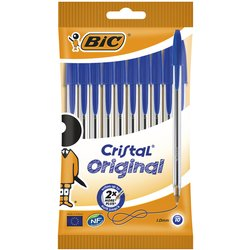 Balpen Bic Cristal blauw zakje à 10 stuks