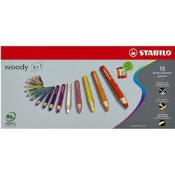 Kleurpotloden STABILO Woody 880/18 set à 18 kleuren met puntenslijper