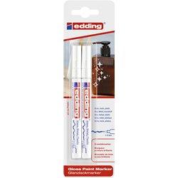 Viltstift edding 751 lakmarker rond 1-2mm blister à 2 stuks wit