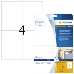 Etiket Herma 4598 105x148mm A4 40st folie wit