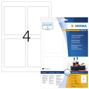 Etiket Herma flessen 8882 90x120mm A4 40st glossy wit