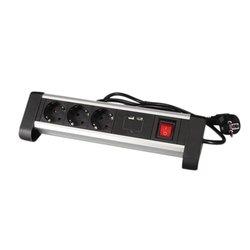 Tafelcontactdoos 3-voudig met schakelaar 140cm incl. 2 USB-poorten