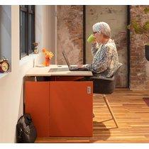HomeFit elektrisch zit-/sta-bureau opgeborgen in een kastje Wit