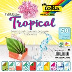 Vouwblaadjes Folia dubbelzijdig Tropical 15x15cm 50vel