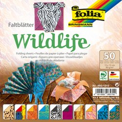 Vouwblaadjes Folia dubbelzijdig Wildlife 15x15cm 50vel