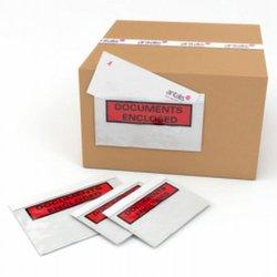 Paklijst, Bedrukt, Documents enclosed, C5, LD-PE, transparant, 230mm x 157mm, doos met 1000 stuks
